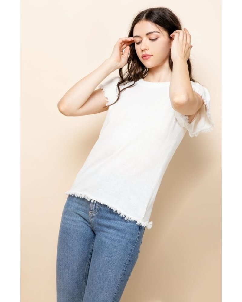 THML Clothing Angie Fringe Trim Top