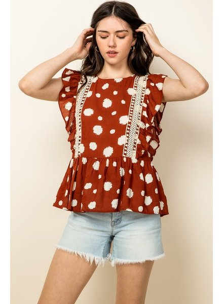 THML Clothing Pinpoint Flutter Top