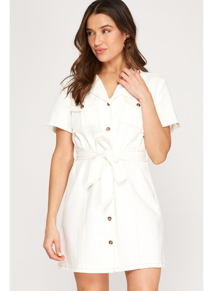 Partly Cloudy Button Dress