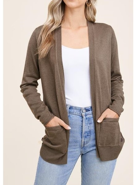 On The Side Cardigan Olive