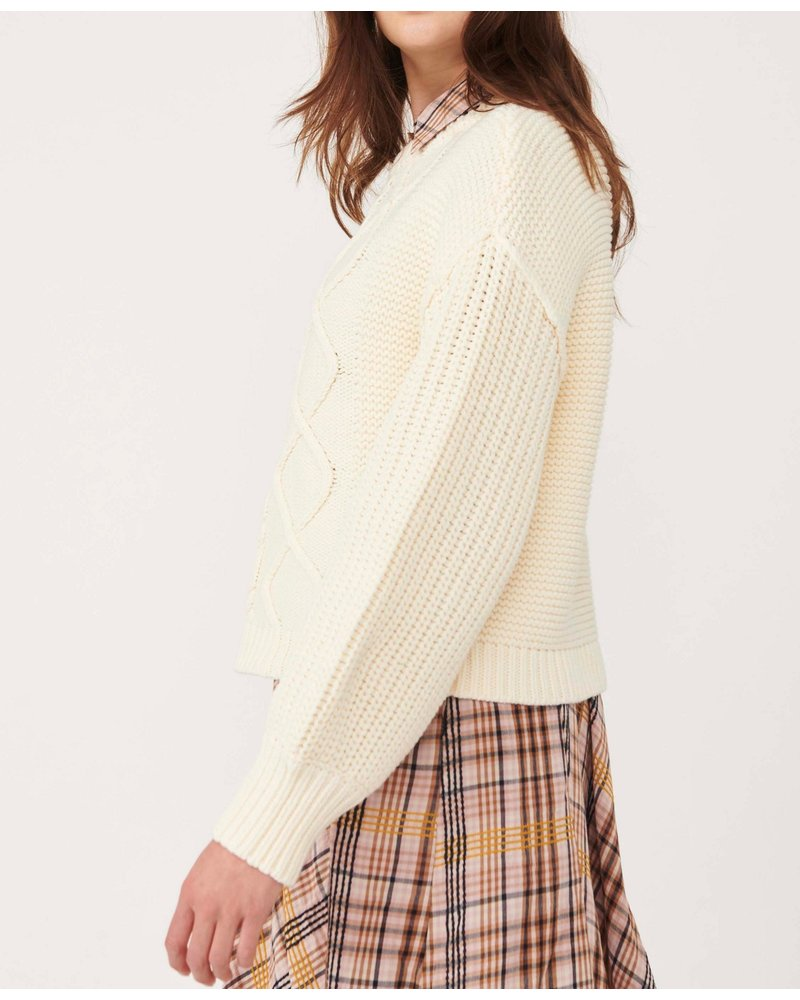 Free People Dream Cable Crew Sweater