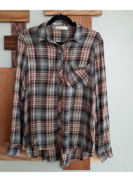 Be Cool Falling For You Plaid Top