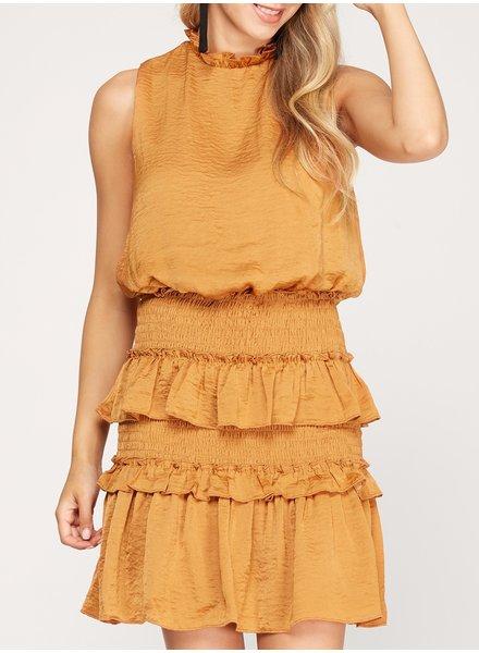 Rustle Up Ruffle Dress Pumpkin