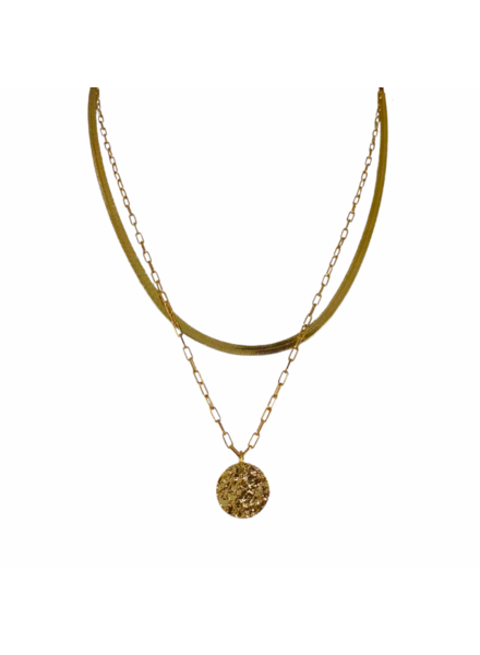 Hammered Coin Layer Necklace