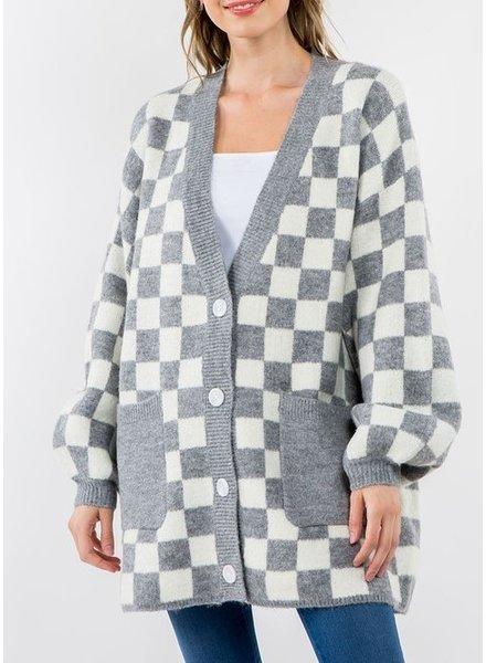 Checkers Button Cardigan