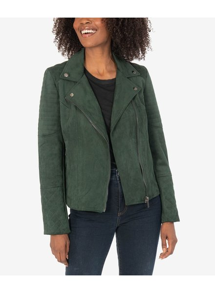 KUT From The Kloth Dawn Quilted Moto Jacket Hunter Green