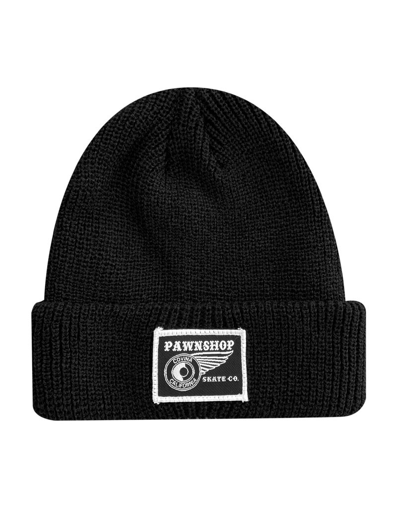 Pawnshop Pawnshop Black & White Wing & Wheel Small Patch Beanie