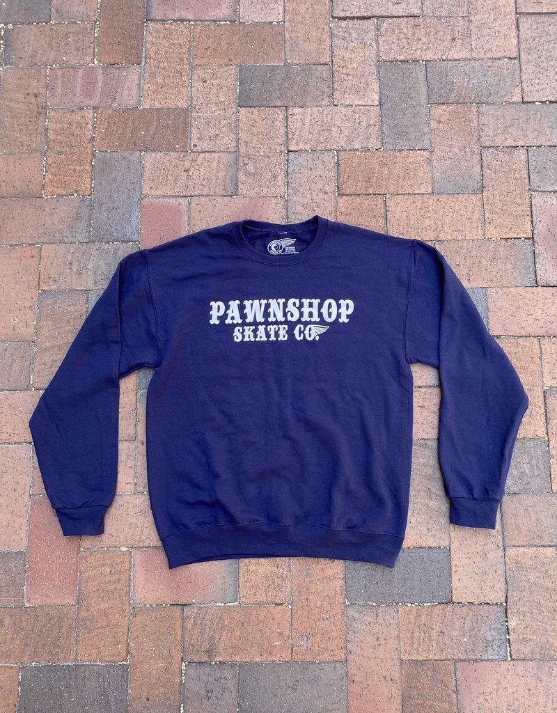 Wing & Wheel Pawnshop Print Stamp Crewnecks
