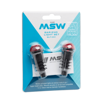 MSW MSW Bar End Lightset with Motion Sensor: Black/Red
