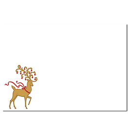 Caspari Party Invitations Embossed Foil Reindeer Blank Invites 8pk