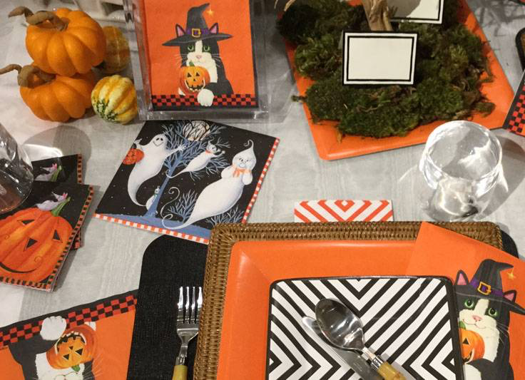 Halloween Party Napkins Plates and Halloween Table-Top Decorations
