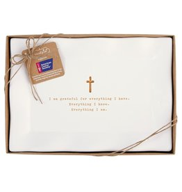 Mud Pie Grateful Paper Mache Tray W Cross American Cancer Society