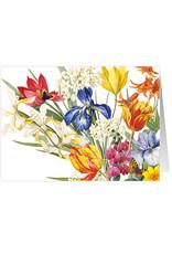 Caspari Blank Card Redoute Floral Bouquet Flowers