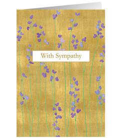 Caspari Sympathy Card Purple Flowers