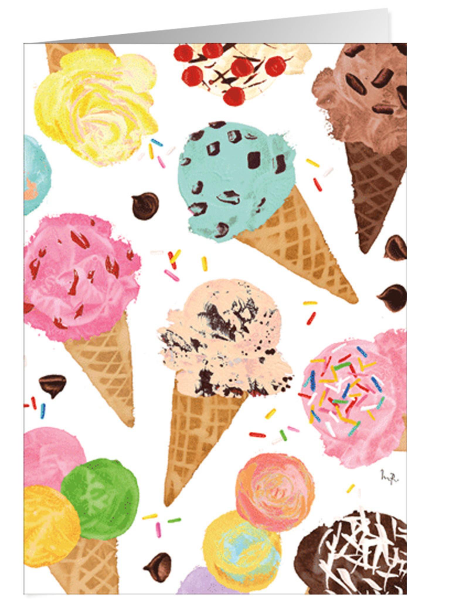 Caspari Birthday Card Ice Cream Cones