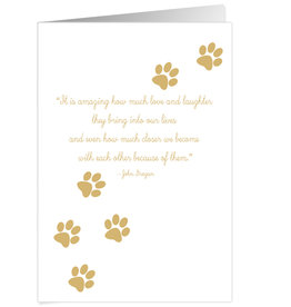 Caspari Pet Sympathy Card Paw Prints