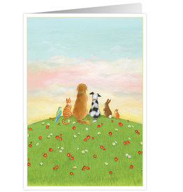 Caspari Pet Sympathy Card Pets On Hill Top