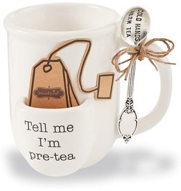 Mud Pie Tea Pouch Mug Set Tell Me Im Pre-Tea - Cold Hands Warm Tea