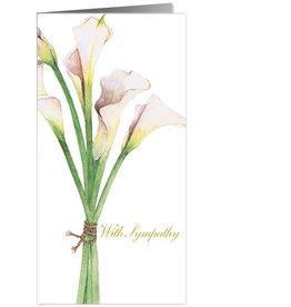 Caspari Sympathy Card Calla Lillies