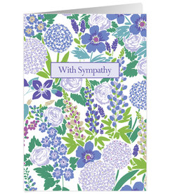 Caspari Sympathy Card Blue Blossoms
