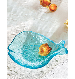 Mud Pie Small Glass Fish Tidbit Dish - Blue