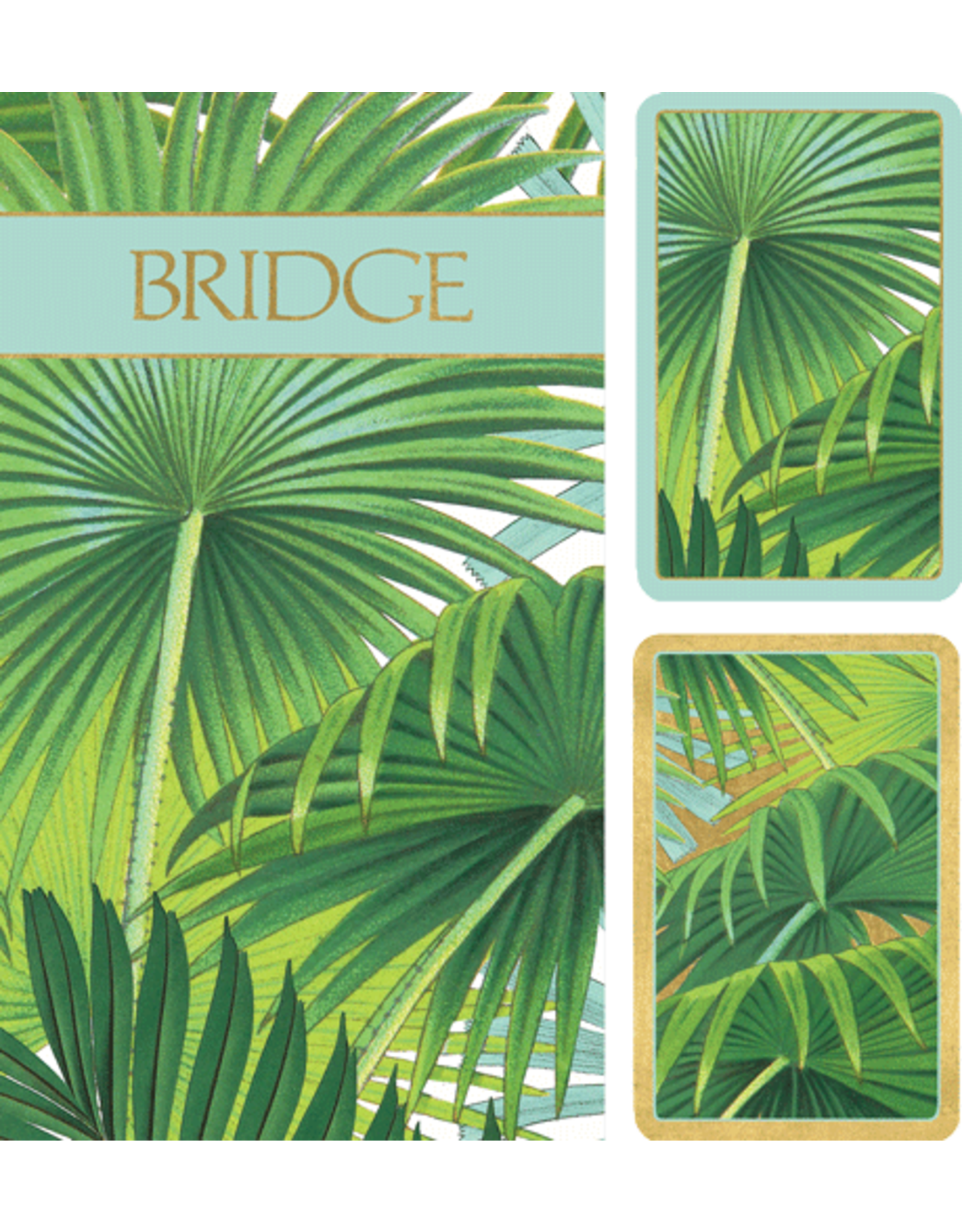 Caspari Bridge Gift Set w 2 Card Decks 2 Score Pads Palm Fronds