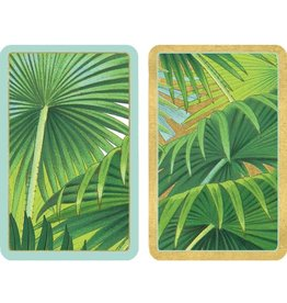 Caspari Playing Cards Bridge Cards 2 Decks Jumbo Text Palm Fronds