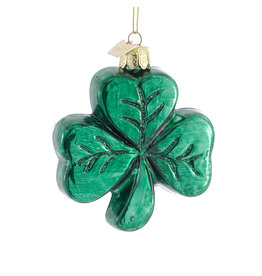 Kurt Adler Noble Gems Irish Glass Shamrock Ornament 3.25 inch