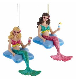 Kurt Adler Mermaid In Starfish Pool Float Christmas Ornament SET