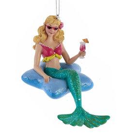 Kurt Adler Mermaid In Starfish Pool Float Christmas Ornament Teal Tail