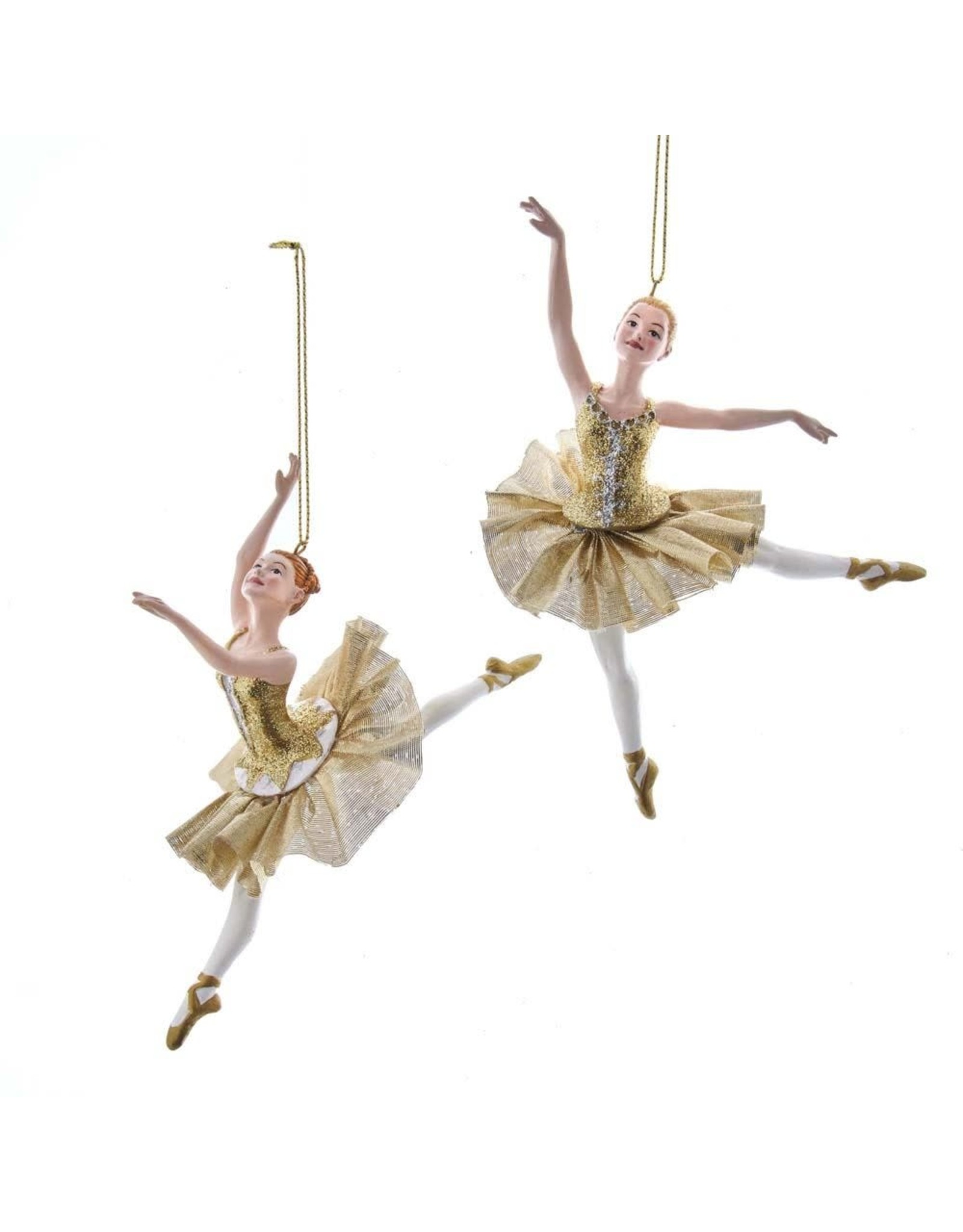 Kurt Adler Ballerina Christmas Ornament Metallic Gold Arabesques SET