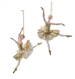 Kurt Adler Ballerina Christmas Ornament Metallic Gold Arabesques SET