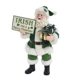 Kurt Adler Fabriche Musical Irish Santa w Irish You A Merry Christmas