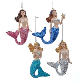 Kurt Adler Mermaid W Glitter Tail Christmas Ornaments SET of 4