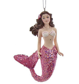 Kurt Adler Mermaid With Pink Glitter Tail Christmas Ornament