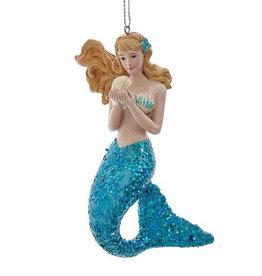 Kurt Adler Mermaid With Teal Glitter Tail Christmas Ornament