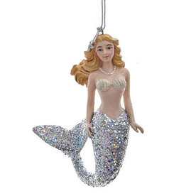 Kurt Adler Mermaid With Silver Glitter Tail Christmas Ornament