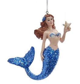 Kurt Adler Mermaid With Blue Glitter Tail Christmas Ornament