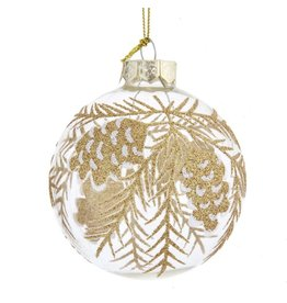Kurt Adler Clear Glass With Gold Pinecone Ball Ornaments Set of 6