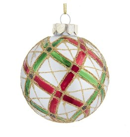 Kurt Adler Plaid Red Green Gold on Silver Glass Ball Ornaments Set 6