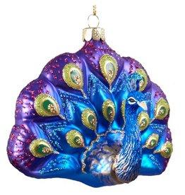 Kurt Adler Glittered Glass Peacock Ornament