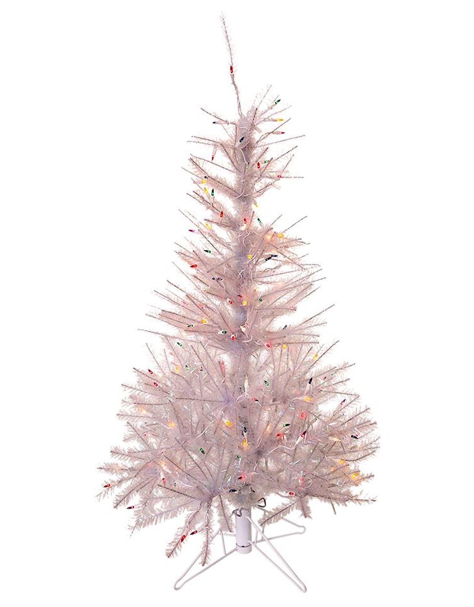 Kurt Adler Pre-Lit Glisten Pine Tree 4.5 FT Iridescent W Multi Color Lights