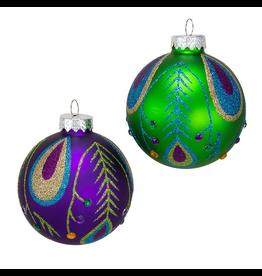 Kurt Adler Peacock Colors Glass Ball Ornaments Set of 6