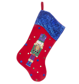 Kurt Adler Red Velvet w Sequin Cuff Nutcracker Christmas Stocking Blue
