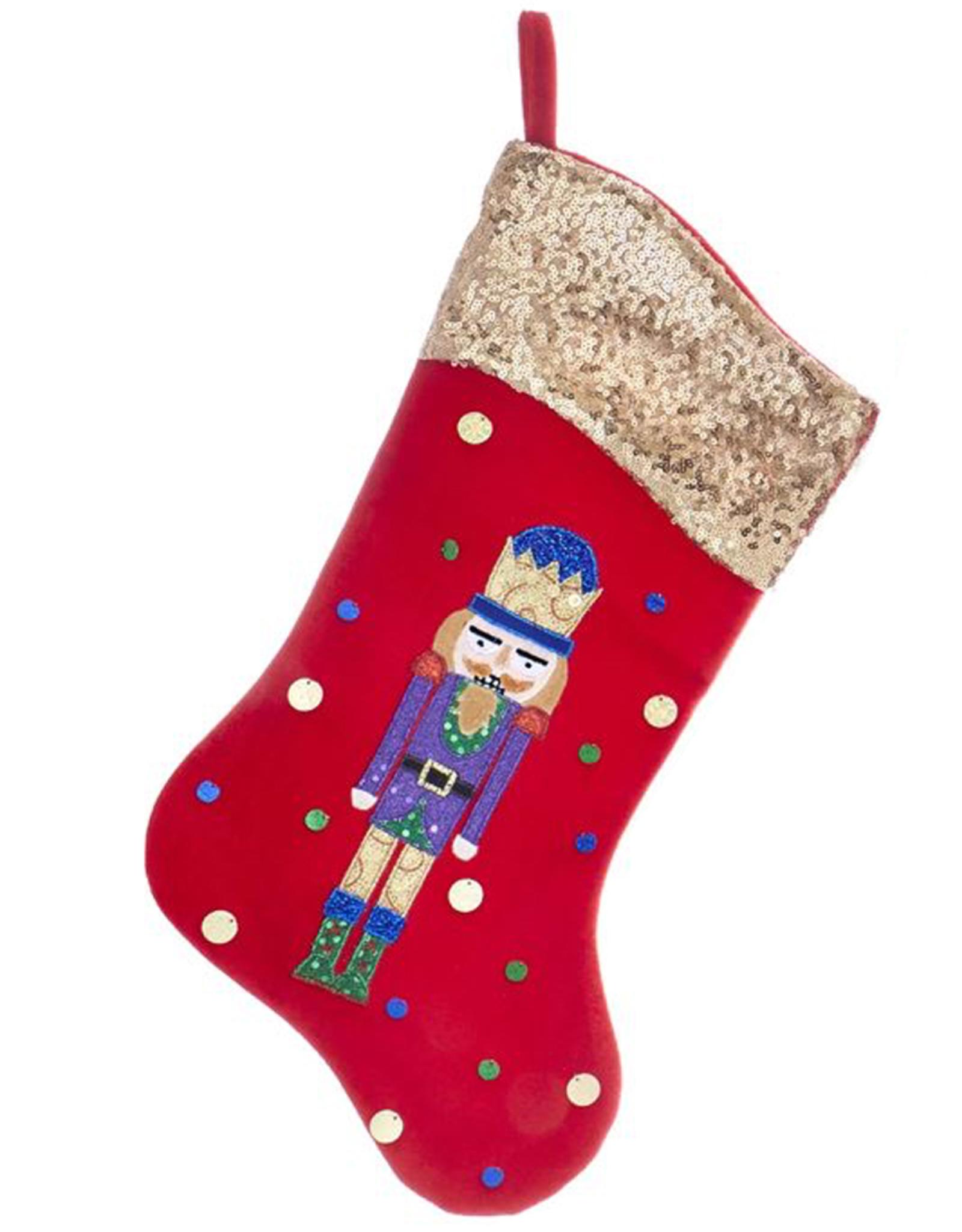 Kurt Adler Red Velvet w Sequin Cuff Nutcracker Christmas Stocking Gold