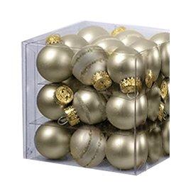Kurt Adler Mini Glass Ball Ornaments 27pc Solids - Stripes 25MM - Gold Matte