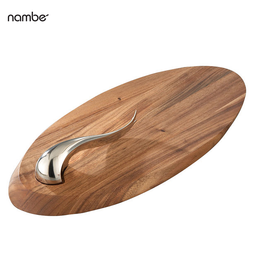 Nambe Swoop Wood Cheese Board with Cheese Knife