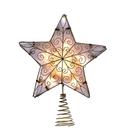 Kurt Adler Christmas Tree Topper 5 Point Lit Star w Gold Wire 8.5 inch