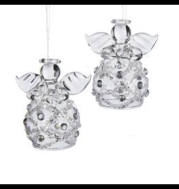 Kurt Adler Clear Glass Angel Ornaments Box Set Of 4