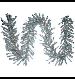 Kurt Adler Christmas Garland Pre-Lit Silver Tinsel Ice Garland w Clear Lights 9FT
